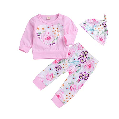 FIged Baby Outsuit Toddler Baby Girl Floral Clothes Top Pants Hat Set Outfit (Pink, 18M-24M)