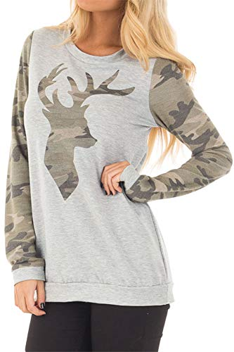 Christmas Women Camo Reindeer Long Sleeve Shirt Color Blocked Holiday Cotton Sweatshirt 2XL -