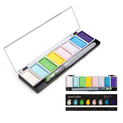 Alexlove 5/8Colors Solid Water Color Set Metallic Gold Pigment Paint with Waterbrush for Artist Painting Watercolors Art Supplies 8 Pearl Colors Set