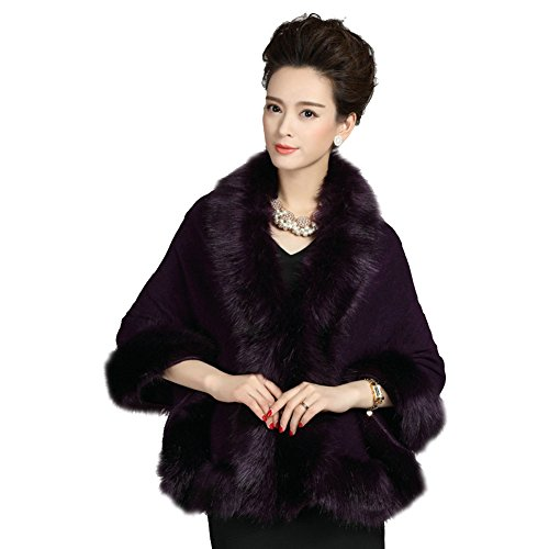 Elfjoy Luxury Bridal Faux Fur Cashmere Wool Shawl Cloak Cape Wedding Dress Party Coat for Winter - Coat Purple Wool