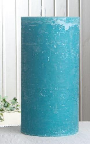 30 x 15 cm /Ø Rustik-Dreidochtkerze aqua-t/ürkis