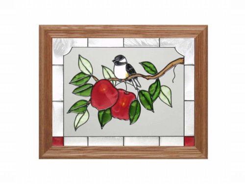 Chickadee Horizontal Art Glass Panel with Wooden Frame 13 x 16