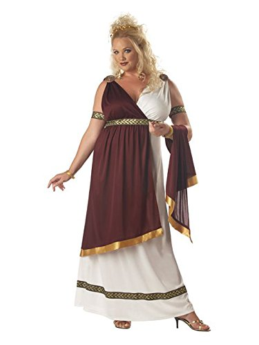 California Costumes Women's Roman Empress Costume, White/Burgundy, 2XL -