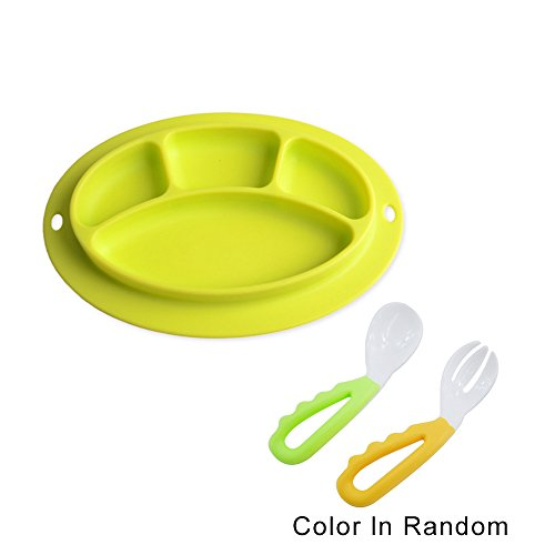 Silicone Suction Plate For Baby Toddler,Kids Bowl Placemat Tray Snack Fruit Food Mats+1 Pair Baby Feeding Training Fork Spoon Set For Eating Table,Chair,Desk,BPA Free,Safe&Portable Feeding Supplies ()