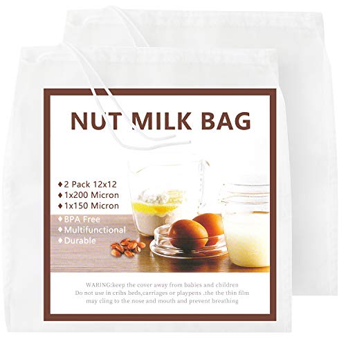 Reusable Nut Milk Bag,GOGOUP Big Commercial Grade Almond Milk Bag All Purpose Food Strainer,Fine Mesh Nylon Cheesecloth & Cold Brew Coffee Filter