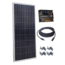 ECO-WORTHY 160W Polycrystalline Off Grid Battery Charging Solar Power Kit:1pc 160W Poly Solar Panel+20A Auto Switch LCD Intelligent Regulator Charge Controller+50Ft Solar Cable+Z Mounting Brackets