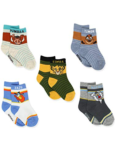 The Lion King Toddler Boys Girls 5 Pack Crew Socks Set (2T-4T Toddler (Shoe: 4-7), 5 Pack Crew)