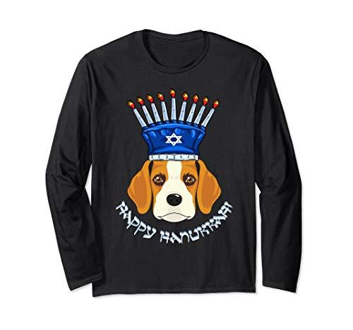Beagle Menorah Hat Hanukkah Chanukah Long Sleeve ()