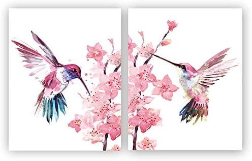 Roze Bloemen Kolibrie Fotobehang Wallpaper WS-42857