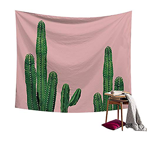 Saguaro Cactus Decor Desert Hope Tapestry Wall Art Hangings Pink and Green Watercolor Printed - large Tablecloths Wall Backdrop Hippie Bedspread Tapestry 79x59 inches HYC05-US #17 ()