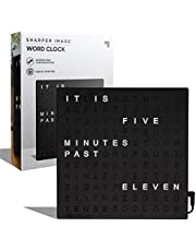 """Sharper Image Light Up Electronic Word Clock, Copper Finish with LED Light Display, USB Cord and Power Adapter, 7.75"""" Square Face, Unique Contemporary Home and Office Décor Black"""