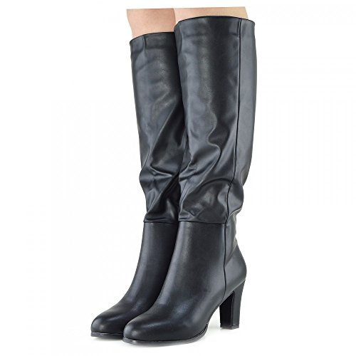 Kick Footwear - Damen Knie-Stiefel Block Heel Casual Suede Innenseite Reißverschluss Smart Fahrstil Stiefel Schwarz Matt