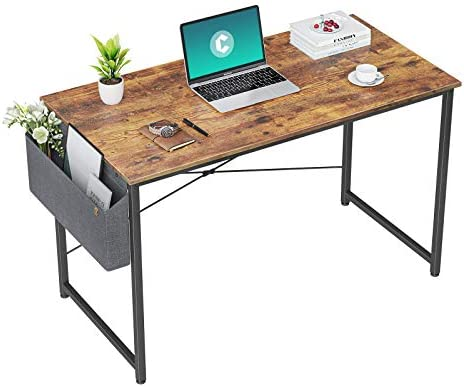 Cubiker Computer Desk 40 inch Home Office Writing Study Desk, Modern Simple Style Laptop Table with Storage Bag, Bamboo