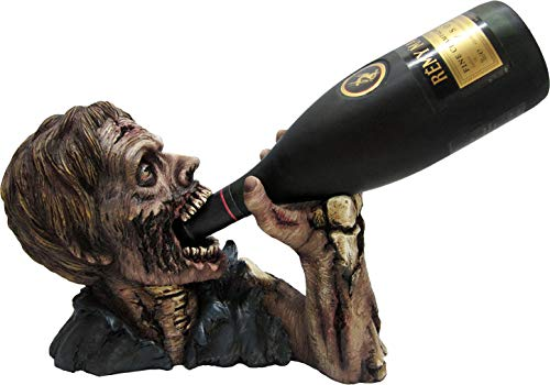 DWK Elixir of the Undead Zombie Wine and Beverage Bottle Holder Display Rack for Halloween Home Decor and Kitchen, 12-inch