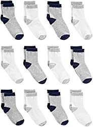 Simple Joys by Carter's Baby Boys' 12-Pack Sock Crew, Gray, White, 6-1