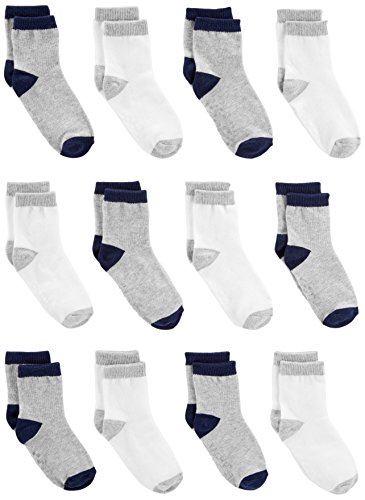 Simple Joys by Carter's Baby Boys' Toddler 12-Pack Sock Crew, Gray, White, 4T/5T