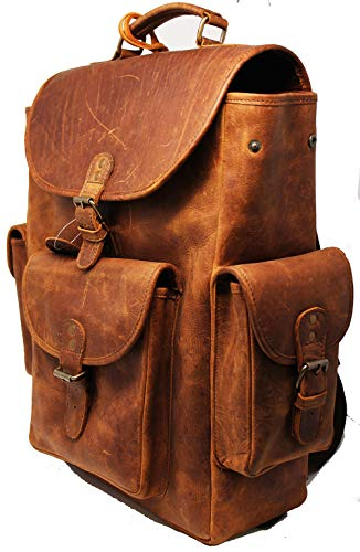 CHALLENGER Calf Leather Backpack Multipurpose Travel Bag Casual Brown 18AA07BR