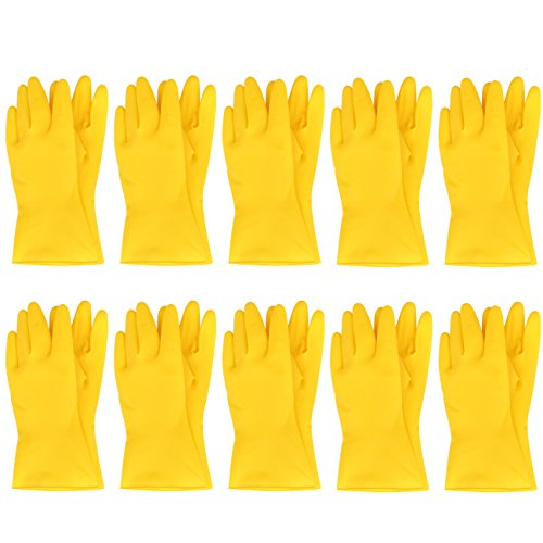 MJ 10 Pairs Household Short Mini Natural Rubber Cleaning Wash Gloves Yellow L -