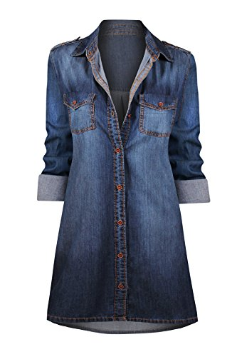 HOT FROM HOLLYWOOD Women's Button Down Roll up Sleeve Classic Denim Shirt - Hot Fashion Hollywood