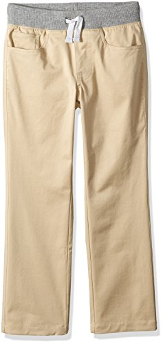 Amazon Brand - Spotted Zebra Boys' Toddler Knit Waistband 5-Pocket Pants, Khaki, 4T