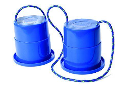 Just Jump It Set of 2 EZ Steppers - Active Indoor and Outdoor Activities for Kids - Can Stepper Toys - Blue