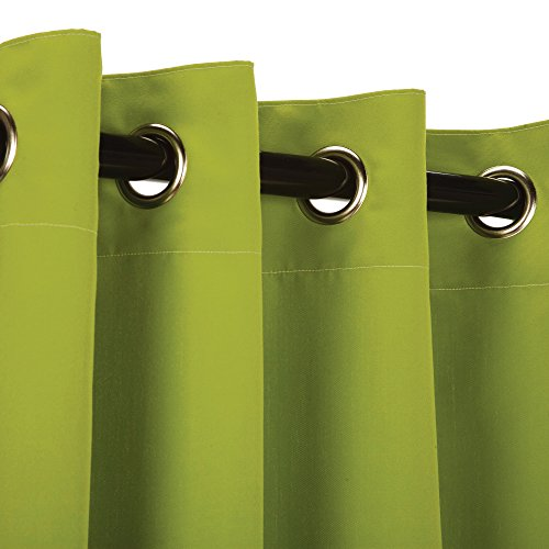 Sunbrella Outdoor Curtain Panel, Nickel Grommet Top, 50 by 108 Inch, Macaw Green (Available in Multiple Colors and Sizes) Includes Custom Storage Bag; Perfect For Your Patio, Porch, Gazebo, or (Green Sunbrella)