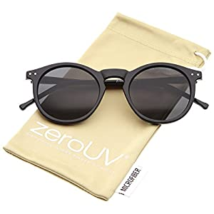 zeroUV - Retro Horn Rimmed Keyhole Nose Bridge P3 Round Sunglasses 49mm (Shiny Black / Smoke)