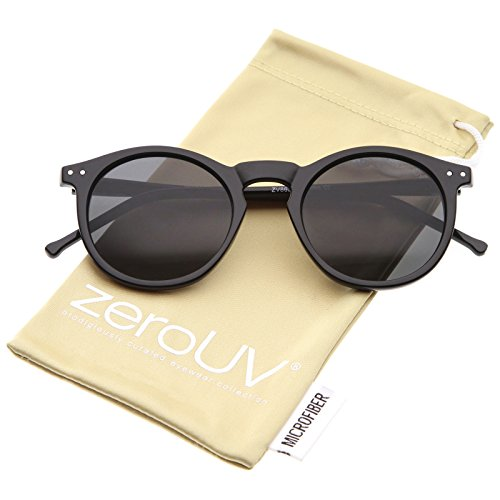 zeroUV - Retro Horn Rimmed Keyhole Nose Bridge P3 Round Sunglasses 49mm (Shiny Black / - Keyhole Sunglasses