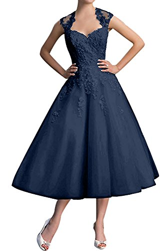 Diseño sin tirantes de la Toscana de la novia vestidos de noche vestidos de fiesta corto regreso de cóctel de satén Tinte Blau