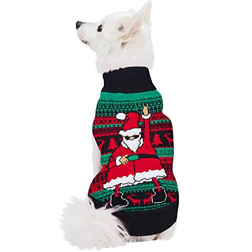 Uideazone Pet Dog Cat 3D Printed Funny Dance Santa Claus Sweater Sweatshirt Coat for Christmas Winter,Back Length 20
