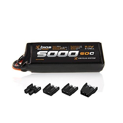 Bias 50C 3S 5000mAh 11.1V LiPo Battery UNI Plug (EC3/Deans/Traxxas/Tamiya) for RC Car, Truck, Buggy, Boat, Heli, and Drone by Bias