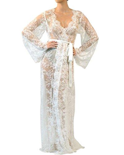 Luxury French Eyelash Lace Robe Bridal Robe Honeymoon Kimono (S/M, White - Long)