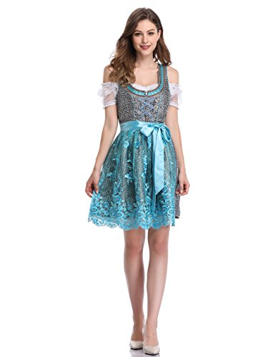 GloryStar Women's German Dirndl Dress 3 Pieces Traditional Bavarian Oktoberfest Costumes for Halloween Carnival (M, Lace Blue-Two) -