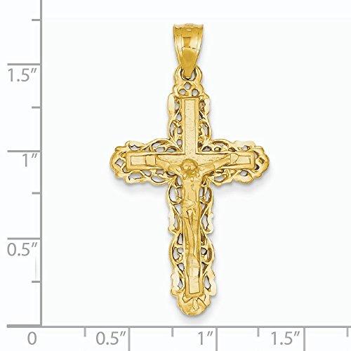 Pendentif croix 14 carats-Dimensions :  41.6 x 23,1-JewelryWeb mm