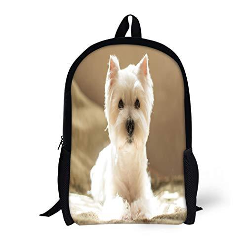 (Pinbeam Backpack Travel Daypack Dog West Highland White Terrier Portrait Adopt Animal Waterproof School Bag)