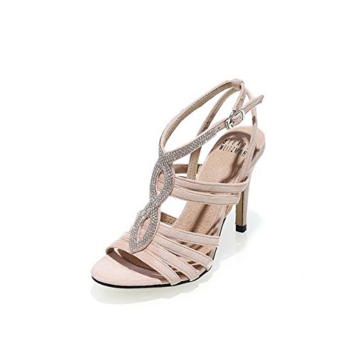 AmoonyFashion Womens Frosted Solid Buckle Open Toe High-Heels Sandals Apricot