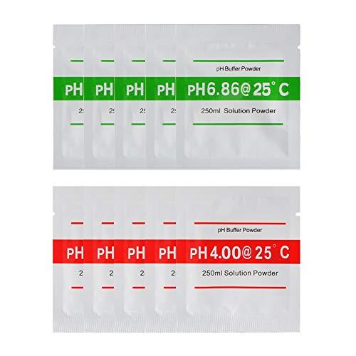 Bertong 10 stücke pH Pufferlösung Pulver for PH Test Meter Genaue Präzise und Einfache Kalibrierung 4,01 6,87 TH927 Home…
