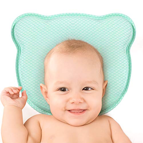 Flat Head Baby Pillow, Baby Head Shaping Pillow with Soft Memory Foam Cushion with Removable Pillowcase(0-12 Month) - 2019 New (Green)