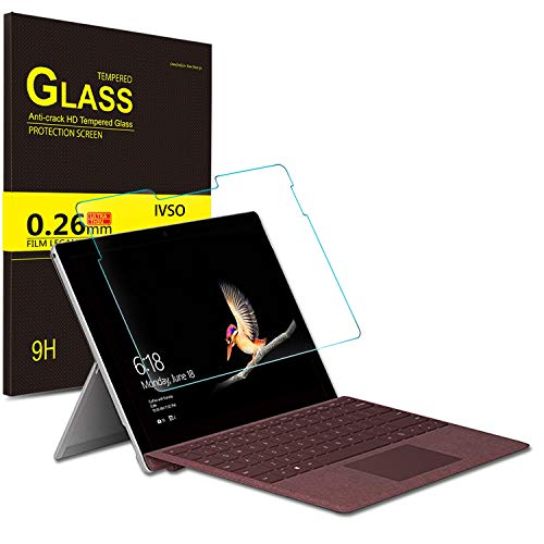 IVSO Microsoft Surface Go Screen Protector, [Scratch-Resistant] [No-Bubble ] 9H Hardness HD Clear Tempered Glass Screen Protector Microsoft Surface Go 10 inch 2018 Released Tablet (2pcs)