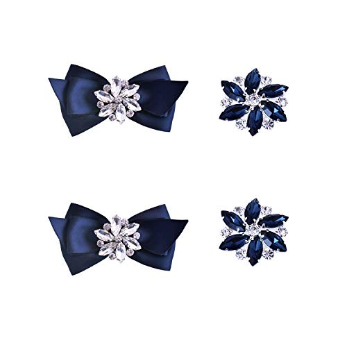 ElegantPark 2 Pairs Navy Blue Decorative Shoe Clips Jewelry Crystal Decoration Charms Wedding Party Accessories (Clip Shoe Crystal)