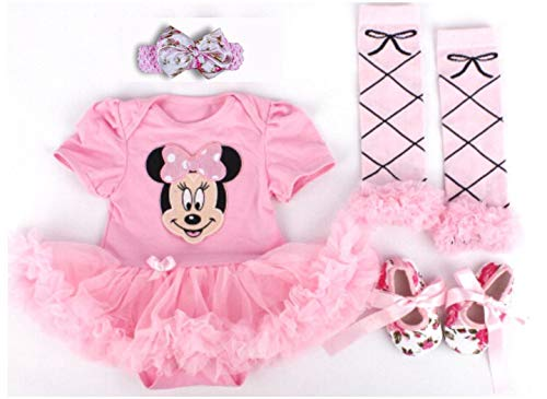 Baby Rae Clothing 4 in 1 Set: Skirt Shortall+Head Band+Legging Socks+Shoes -Pink Minnie Mouse-Sold Ship from USA]()