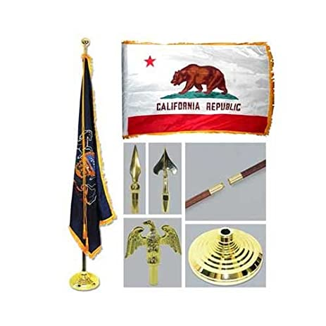 california 3ft x 5ft flag flagpole base and tassel