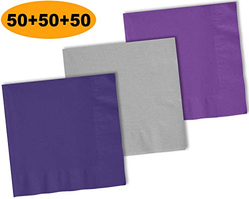 (150 Beverage Napkins, Grape Purple, Shimmering Silver, Amethyst - 50 Each Color. 2 Ply Paper Cocktail Napkins. 5