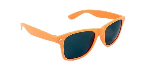 a37f8c58fe2 Neon Orange Wayf Festival Aves Sunglasses Retro 80s Fashion Geek Tint Lenses   Amazon.co.uk  Clothing