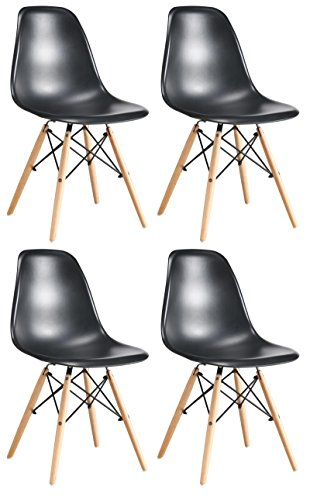 Set of 4 Modern Elegant Eames Style Dining Living room Plastic Chairs Set with Sturdy Wooden Leg by Oye Hoye Quick Easy Assembly - Black