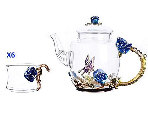 YBK Tech Creative Flower Glass Teapot and Cup Set Crystal Glass Kung Fu Tea Cup Set for Hot Beverage, Iced Tea, Naked Juice, for Sister, Mom, Grandma, Teachers- Rose (Blue)