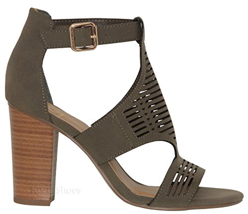 Sandal Open Heel Cut Women's Khakinb Toe Chunky f MVE Out Shoes IPnwEqx0x8