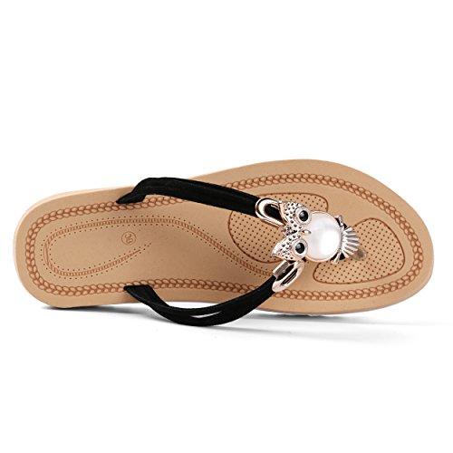 Aerusi Womans Gufo Impreziosito Elegante Sandali In Onice Nero