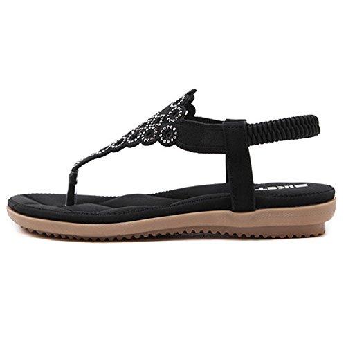 Btrada Sandaler For Kvinner-sommer Bohem Flate Sko-klipp Tå Elastisk Flip Flops Svart