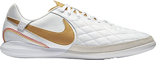 - Nike Lunar LegendX 7 Pro 10R Indoor Soccer Cleats (White/Gold, M8W95)